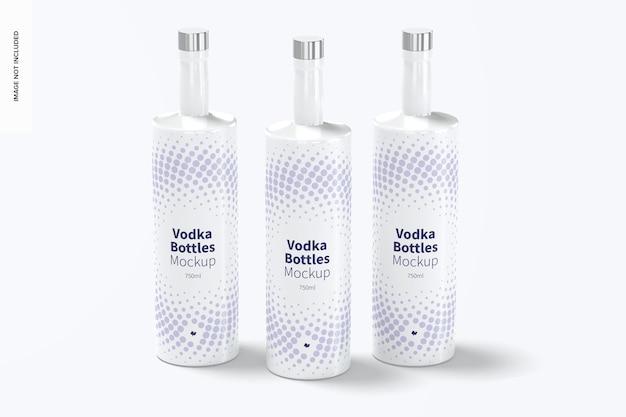 Bottiglie di vodka impostare mockup