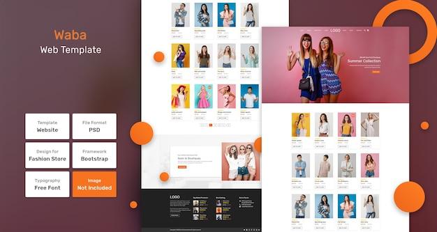 Modello web del negozio di moda waba