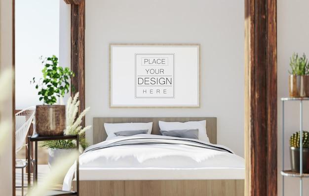 Arte della parete o cornice in tela mockup interni in una camera da letto