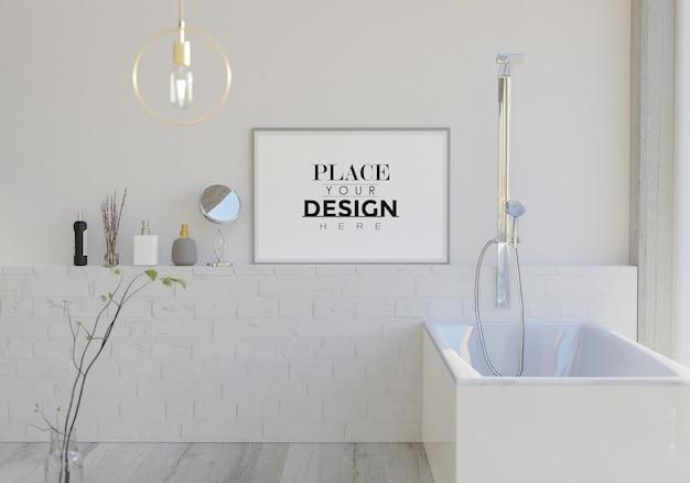 Tela di arte della parete o cornice mockup sull'interno del bagno