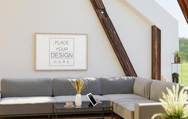Mockup di arte della parete, cornice in tela nel soggiorno