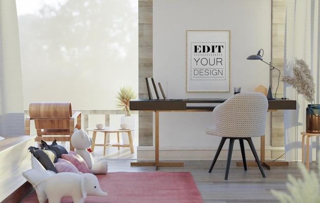 Mockup di arte della parete, tela o cornice in soggiorno