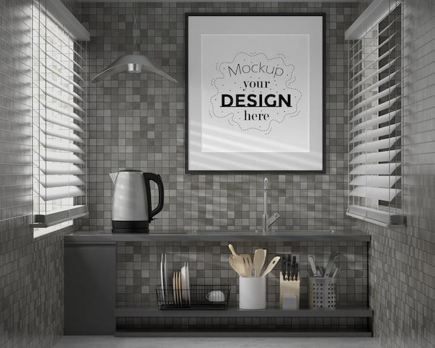 Arte della parete o cornice mockup su kitchen room interior