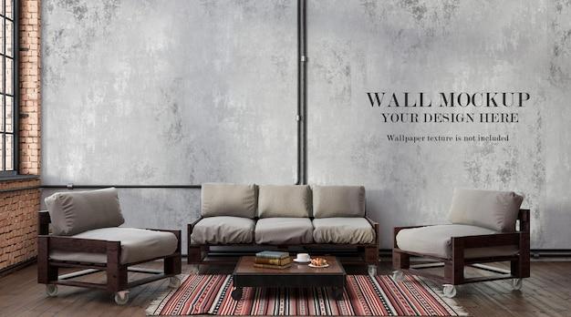 Sfondo muro in soggiorno in stile loft