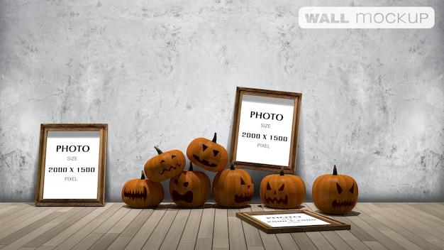 Mockup di sfondo muro, rendering 3d immagine della testa di zucca sul froor e cornice per foto sul muro,