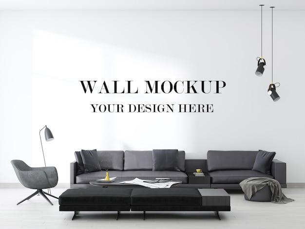 Fondo della parete di un soggiorno contemporaneo sbalorditivo nella rappresentazione 3d