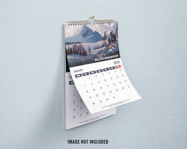 Mockup calendario da parete vista lerft mockup