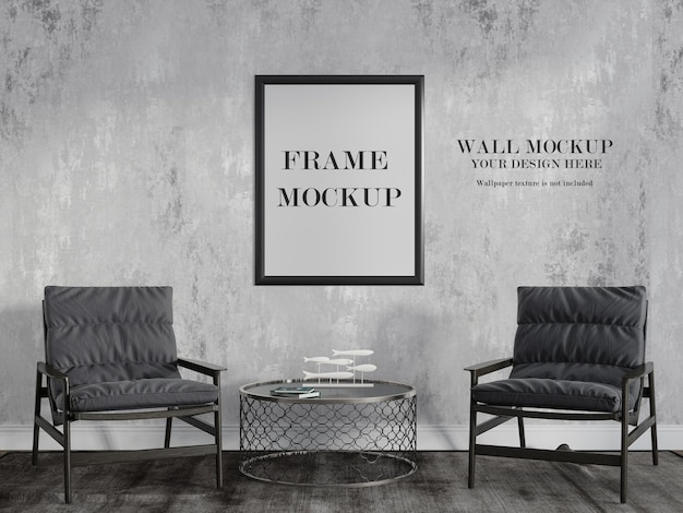 Mockup di parete e cornice nel soggiorno di rendering 3d