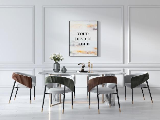Mockup di cornice a parete in soggiorno in stile art déco con tavolo in marmo di lusso e sedie in pelle scamosciata