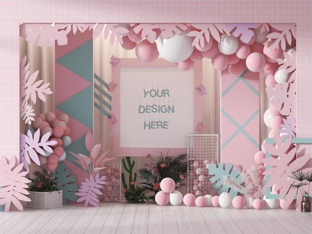 Mockup di cornice da parete per festival decorato con palloncini di colore rosa e bianco