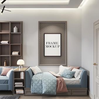 Mockup di cornice a parete in interni moderni
