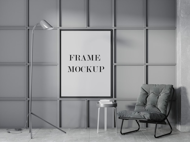 Mockup di cornice a parete in camera monotona con sedia