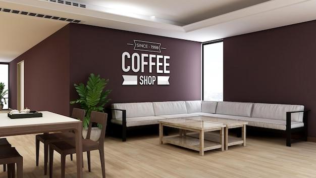Mockup del logo della parete nella caffetteria o nel ristorante