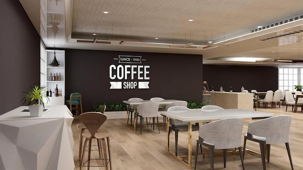 Mockup del logo a parete nella caffetteria con tavolo e sedia in legno