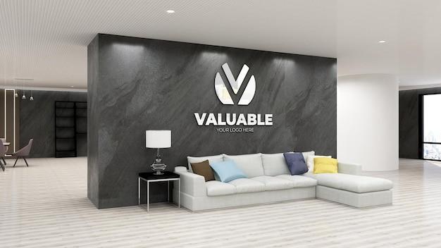 Mockup logo da parete in ufficio di lusso con muro di pietra