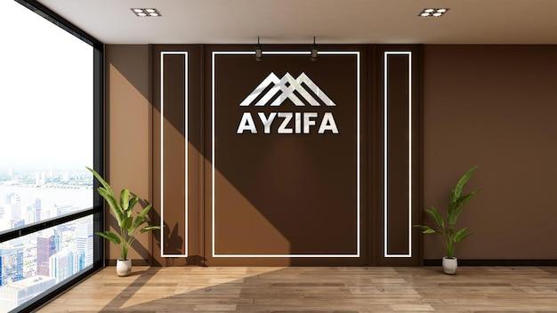 Mockup del logo della parete nell'addetto alla reception dell'ufficio
