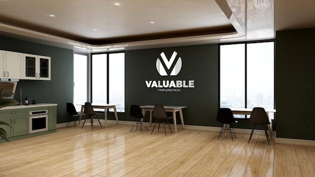 Mockup del logo della parete nella stanza dell'ufficio della dispensa