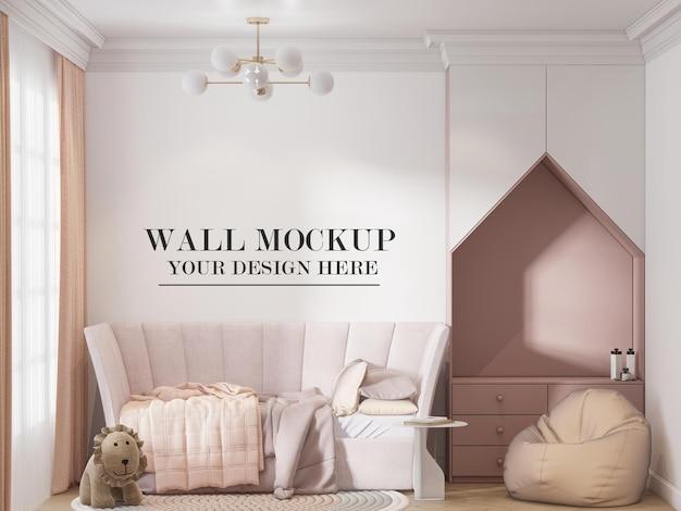 Mockup di parete in rendering 3d per il tuo design e trame