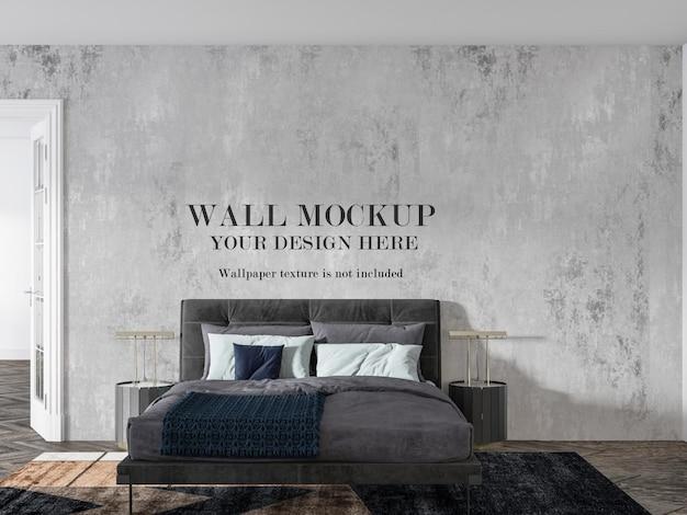 Mockup di parete in camera da letto