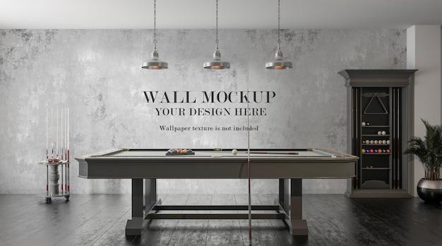 Mockup di parete dietro il tavolo da biliardo
