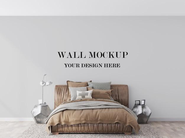Mockup di parete dietro la visualizzazione 3d del letto in pelle marrone