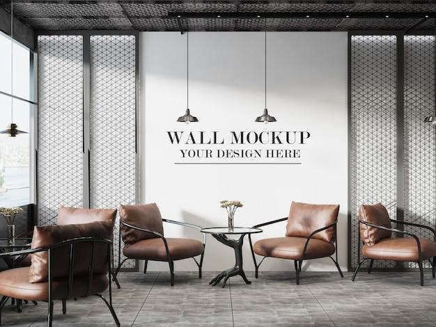 Mockup caffè a parete con elementi interni industriali