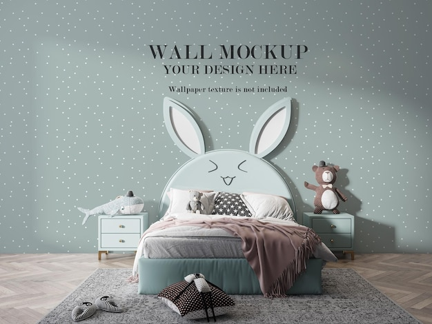 Mockup di parete sulla camera da letto del bambino