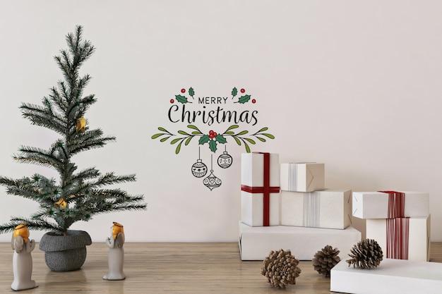 Mockup da parete nel concetto di natale con albero di natale e decorazioni