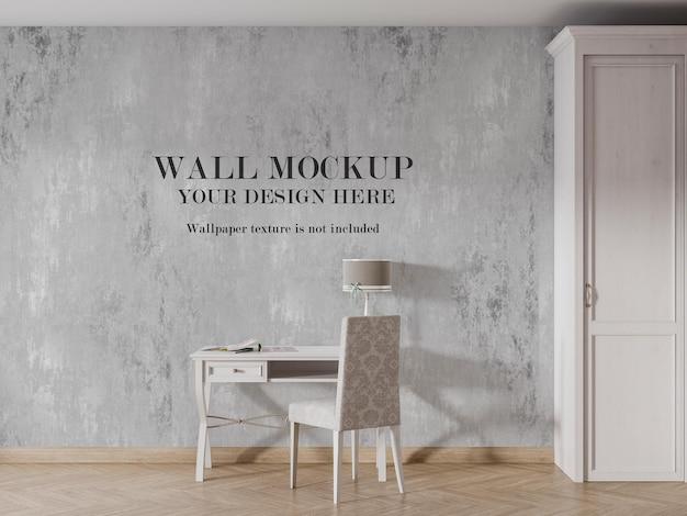 Mockup a parete dietro consolle e armadio