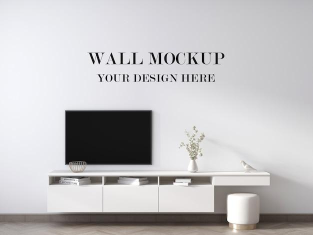 Mockup di parete dietro il mobile tv bianco contemporaneo 3d rendering