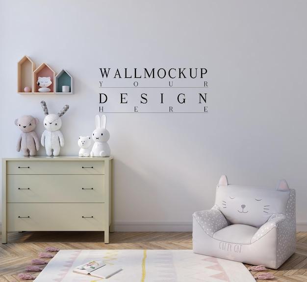 Mockup da parete nella camera da letto dei bambini carini