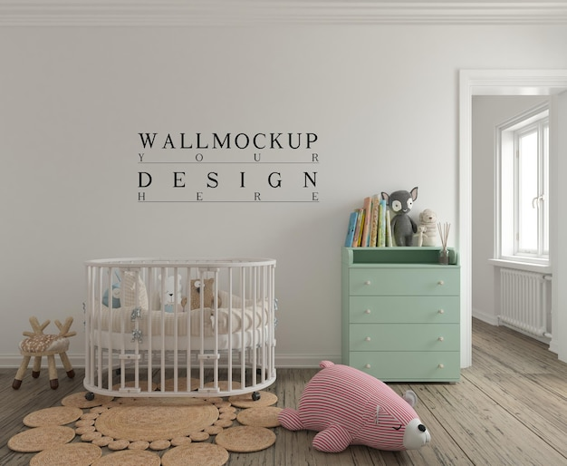 Mockup da parete nella graziosa stanza della scuola materna