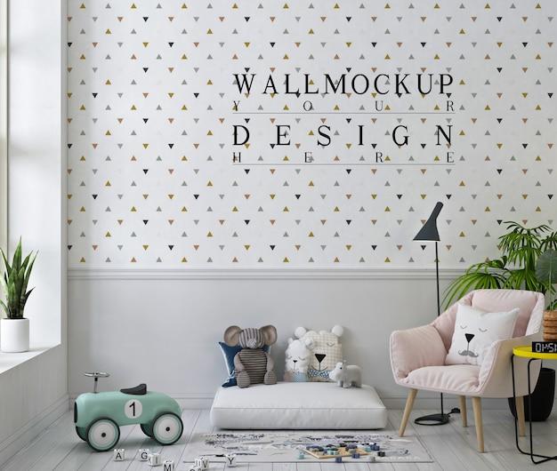 Mockup a muro in una graziosa sala giochi con poltrona rosa