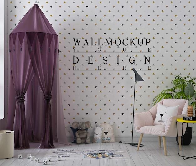 Mockup di muro in una graziosa sala giochi con tenda