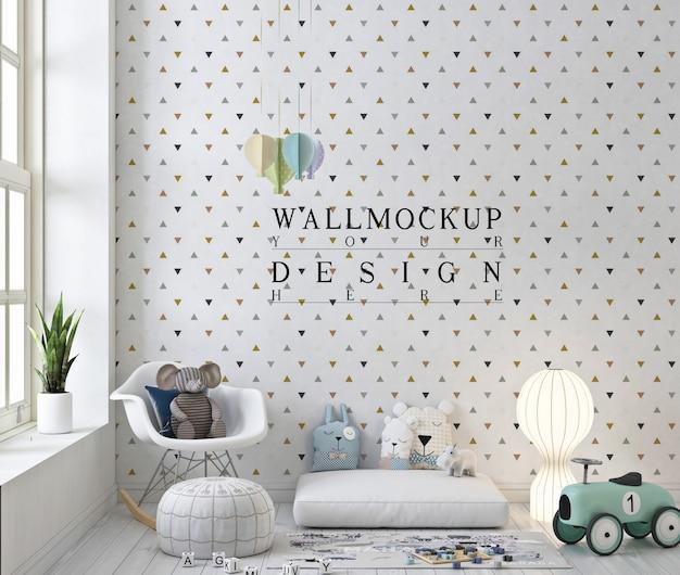 Mockup a muro in una graziosa sala giochi con sedia a dondolo bianca