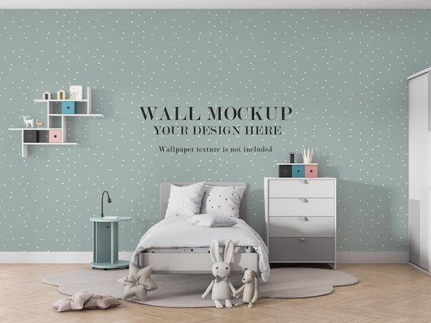 Design mockup a parete per la progettazione della camera dei bambini