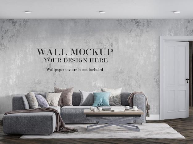 Design mockup a parete nel salotto moderno