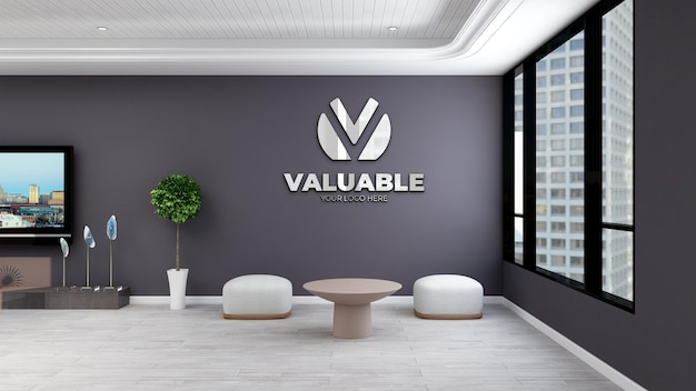 Mockup di parete in un elegante soggiorno 3d interior design