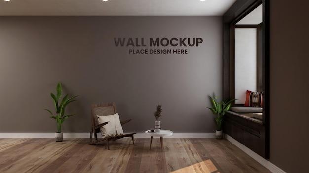 Mockup di parete in elegante soggiorno minimalista 3d interior design