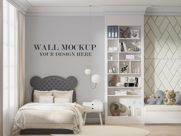 Mockup di parete dietro la testiera del letto a forma di orecchio in rendering 3d