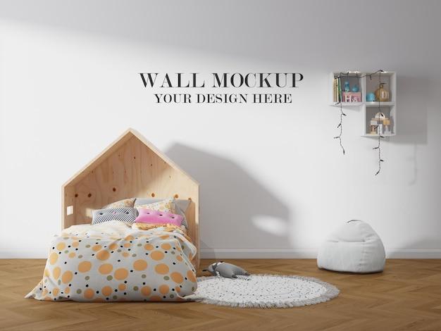 Mockup del muro dietro il letto di casa
