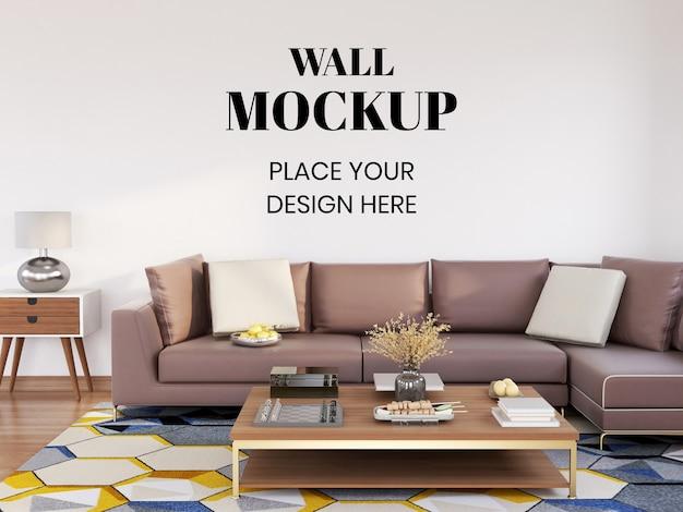 Salone moderno interno di mockup della parete con grande divano