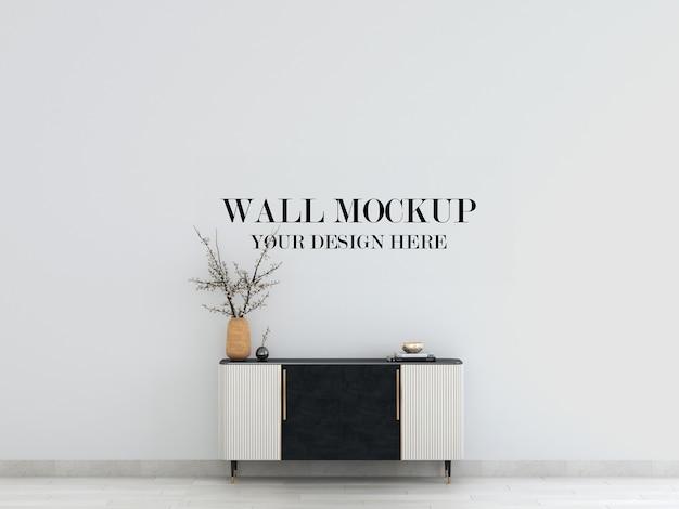 Mockup da parete all'interno con credenza in stile art déco