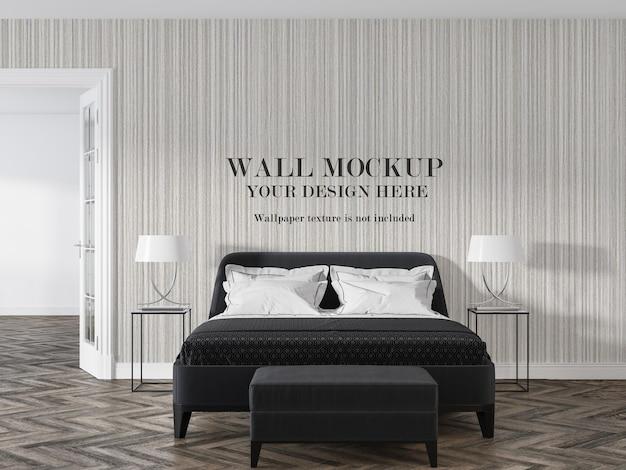 Mockup di parete in camera da letto di lusso