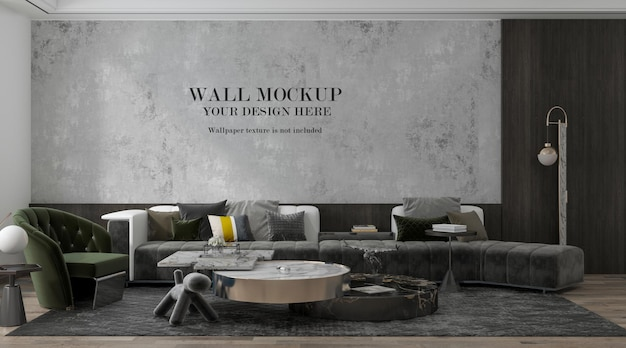 Mockup di parete in soggiorno di lusso con ampio divano all'interno