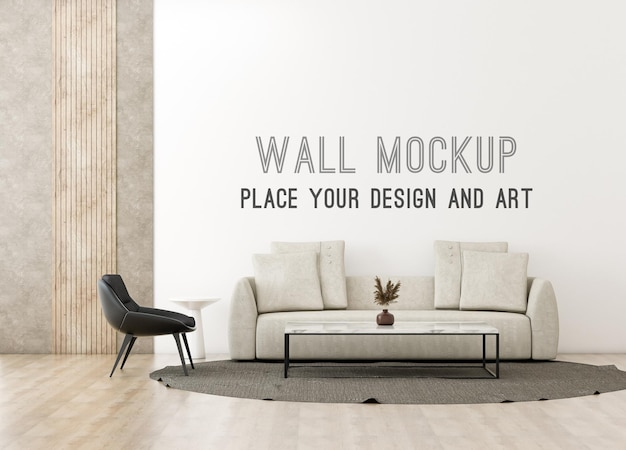 Mockup a parete in soggiorno moderno minimale con toni caldi e parete soppalcata