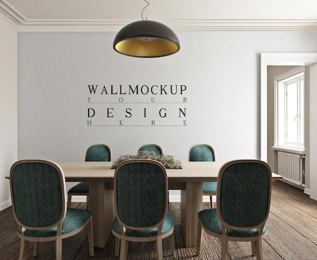 Mockup da parete nella moderna sala da pranzo fotorealistica classica