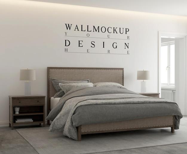 Mockup di parete in camera da letto moderna contemporanea