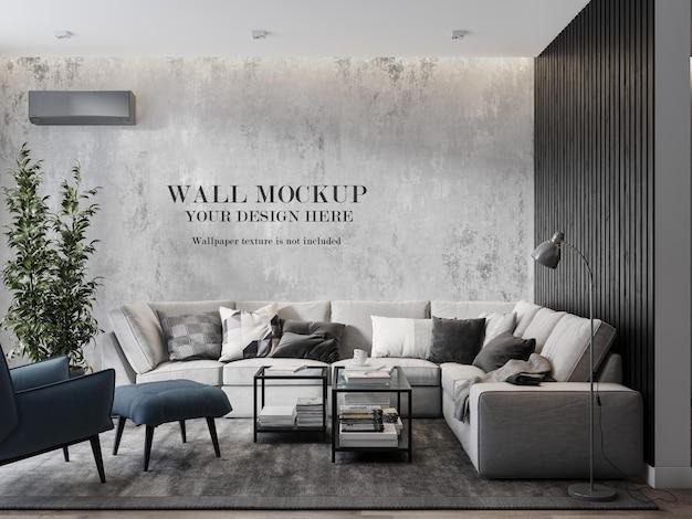 Mockup di parete sul soggiorno interno moderno