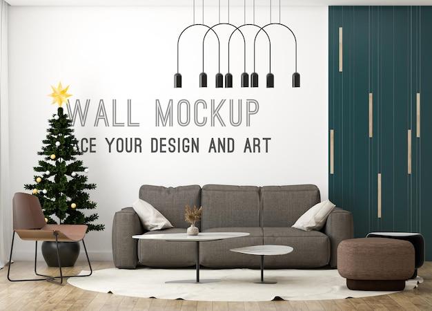 Mockup a parete in soggiorno moderno con albero di natale